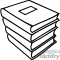 Black and white stack of school books