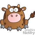 cute cartoon brown cow