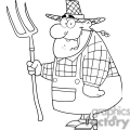 black and white outline of a cartoon farmer