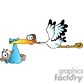 cartoon stork delivering a baby