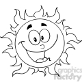12895 RF Clipart Illustration Happy Sun Cartoon Character