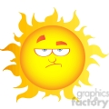 12901 RF Clipart Illustration Lowering Sun Cartoon Character