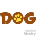 12811 RF Clipart Illustration Dog Text With Paw Print