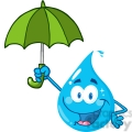12866 RF Clipart Illustration Smiling Water Drop With Umbrella
