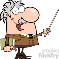 12829 RF Clipart Illustration Professor Holding A Pointer