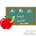 4958-Clipart-Illustration-of-Happy-Student-Worm-In-Apple-In-Front-Of-School-Chalk-Board