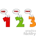 4985-clipart-illustration-of-numbers-one,two-and-three-cartoon-mascot-characters-with-speech-bubble