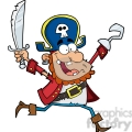 Running Pirate Holding Up A Sword And Hook