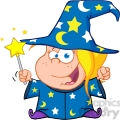 clipart of happy wizard girl waving with magic wand
