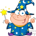 Clipart of Happy Wizard Boy Waving With Magic Wand