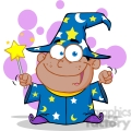 royalty free happy african american wizard boy waving with magic wand  gif, png, jpg, eps, svg, pdf