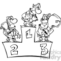 black and white cartoon winner podium
