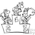 black and white cartoon winner podium
