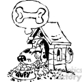 cartoon black white dog in a doghouse