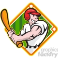 baseball player batting side diamond half
