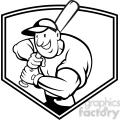 black and white baseball player batting front shield half