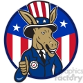 donkey democrat thumb up half us flag circ  gif, png, jpg, eps, svg, pdf