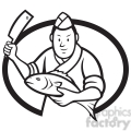 black and white japanese sushi chef fish knife OVAL