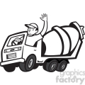 black and white cement mixer driver wave