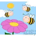 5598 royalty free clip art smiling bumble bees flying over flower  gif, png, jpg, eps, svg, pdf