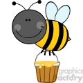 5604 royalty free clip art smiling bee flying with a honey bucket