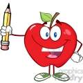 5786 Royalty Free Clip Art Happy Red Apple Holding Up A Pencil