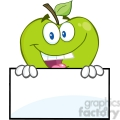 5780 Royalty Free Clip Art Smiling Green Apple Hiding Behind A Sign