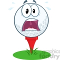 5704 royalty free clip art panic golf ball cartoon mascot character over tee  gif, png, jpg, eps, svg, pdf