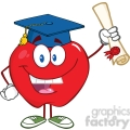 5757 Royalty Free Clip Art Happy Apple Character Graduate Holding A Diploma