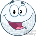5701 Royalty Free Clip Art Happy Golf Ball Cartoon Mascot Character