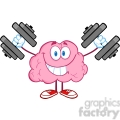 5835 Royalty Free Clip Art Smiling Brain Cartoon Character Training With Dumbbells