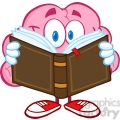 5839 royalty free clip art smiling brain cartoon character reading a book  gif, png, jpg, eps, svg, pdf