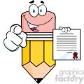 5934 Royalty Free Clip Art Smiling Pencil Cartoon Character Pointing With Finger And Holding A Contract