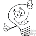 Royalty Free Clip Art Smiling Light Bulb Giving A Thumb Up Behind A Sign