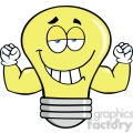 6121 Royalty Free Clip Art Smiling Light Bulb Cartoon Mascot Character With Muscle Arms