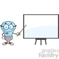 6097 Royalty Free Clip Art Blue Ligt Bulb Presenting On A Board
