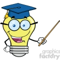 6157 Royalty Free Clip Art Smiling Light Bulb Teacher Character With A Pointer