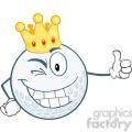 6487 Royalty Free Clip Art Winking Golf Ball Cartoon Character With Gold Crown Holding A Thumb Up