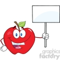 6518 Royalty Free Clip Art Happy Apple Cartoon Character Holding Up A Blank Sign