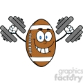 6575 Royalty Free Clip Art Smiling American Football Ball Cartoon Mascot Character Training With Dumbbells