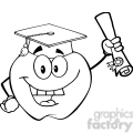 6504 royalty free clip art black and white apple character graduate holding a diploma  gif, png, jpg, eps, svg, pdf