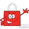 6723 royalty free clip art smiling red shopping bag cartoon mascot character waving for greeting  gif, png, jpg, eps, svg, pdf