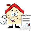 6462 Royalty Free Clip Art Happy House Cartoon Mascot Character Pointing With Finger And Holding A Contract