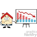 6446 Royalty Free Clip Art Grumpy Business House Cartoon Character With Pointer Presenting A Falling Chart