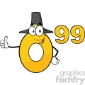 6689 Royalty Free Clip Art Price Tag Number 0-99 With Pilgrim Hat Cartoon Mascot Character Giving A Thumb Up
