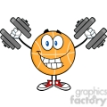 Royalty Free RF Clipart Illustration Smiling Basketball Cartoon Character Training With Dumbbells