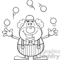Royalty Free RF Clipart Illustration Black and White Funny Clown Cartoon Character Juggling With Balls