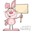 Royalty Free RF Clipart Illustration Funny Pink Rabbit Cartoon Character Holding A Wooden Board