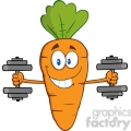 Royalty Free RF Clipart Illustration Smiling Carrot Cartoon Character Exercising With Dumbbells