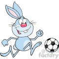 royalty free rf clipart illustration cute blue rabbit cartoon character playing with soccer ball  gif, png, jpg, eps, svg, pdf